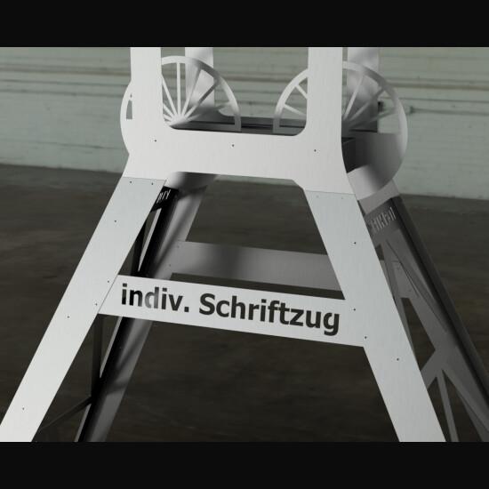 FÖRDERTURM XL Stahl roh mit individuellem Schriftzug